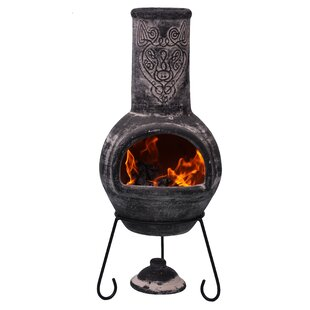 Wulfryc Clay Wood Burning Chiminea By Gardeco