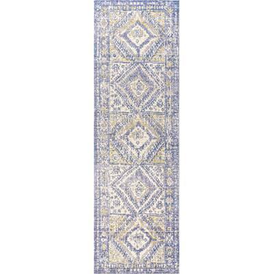 Bungalow Rose Peregrine Ornate Geometric Medallion Blue Area Rug Wayfair
