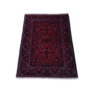 Reviews One-of-a-Kind Banda Khamyab Hand-Knotted 2'2 x 3' Wool Red/Black/Orange Area Rug By Isabelline
