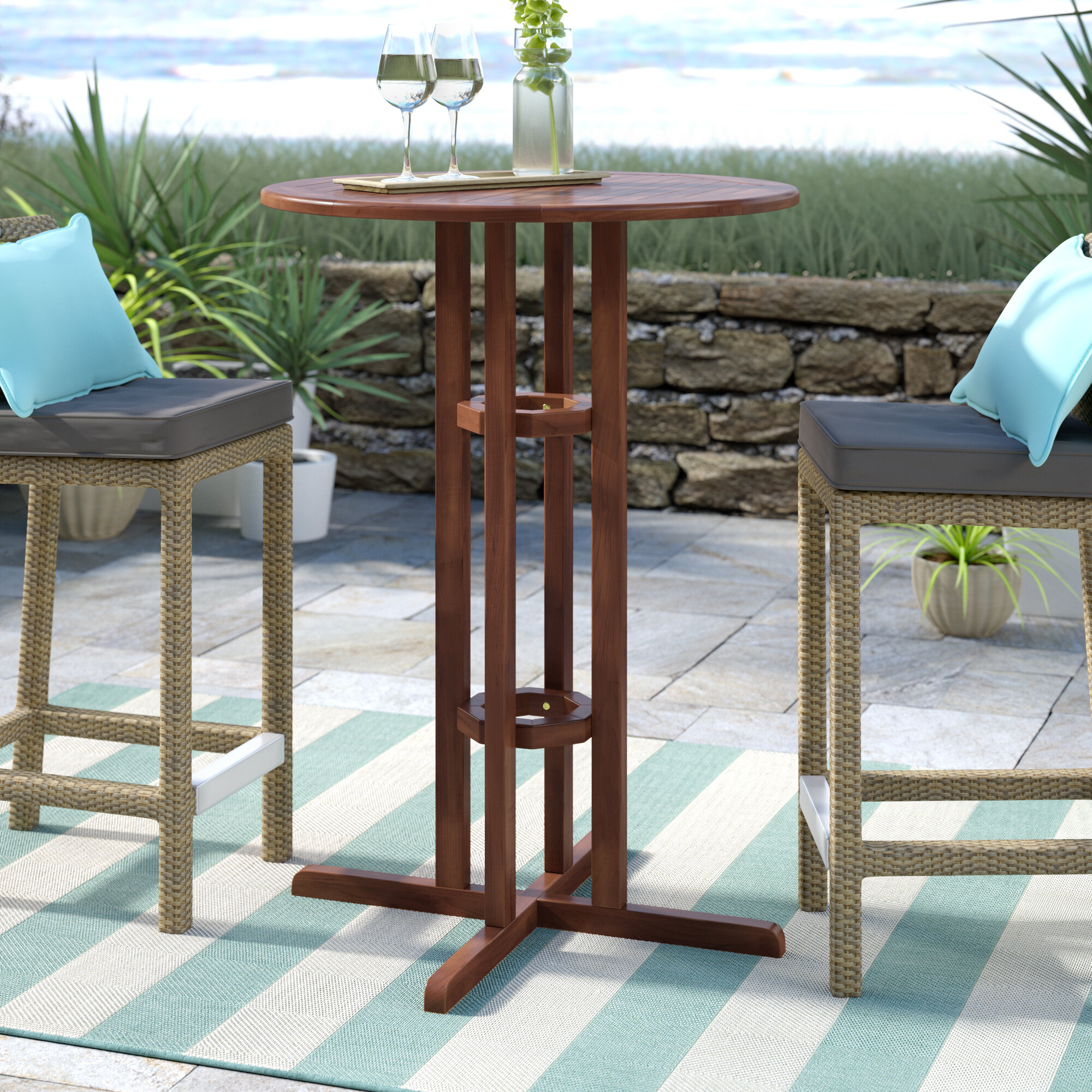 Beachcrest Home Rothstein Solid Wood Bar Table Reviews Wayfair