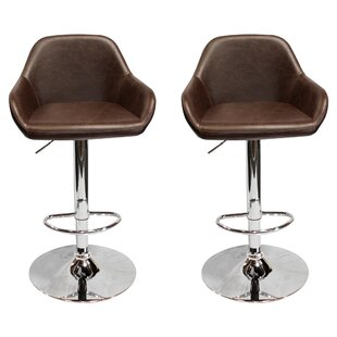 Isolde Adjustable Height Swivel Bar Stool (Set of 2) Union Rustic