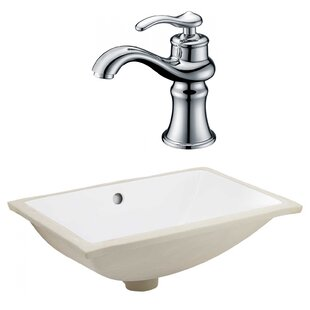 Check Prices Ceramic Rectangular Undermount Bathroom Sink with Faucet and Overflow By American Imaginations