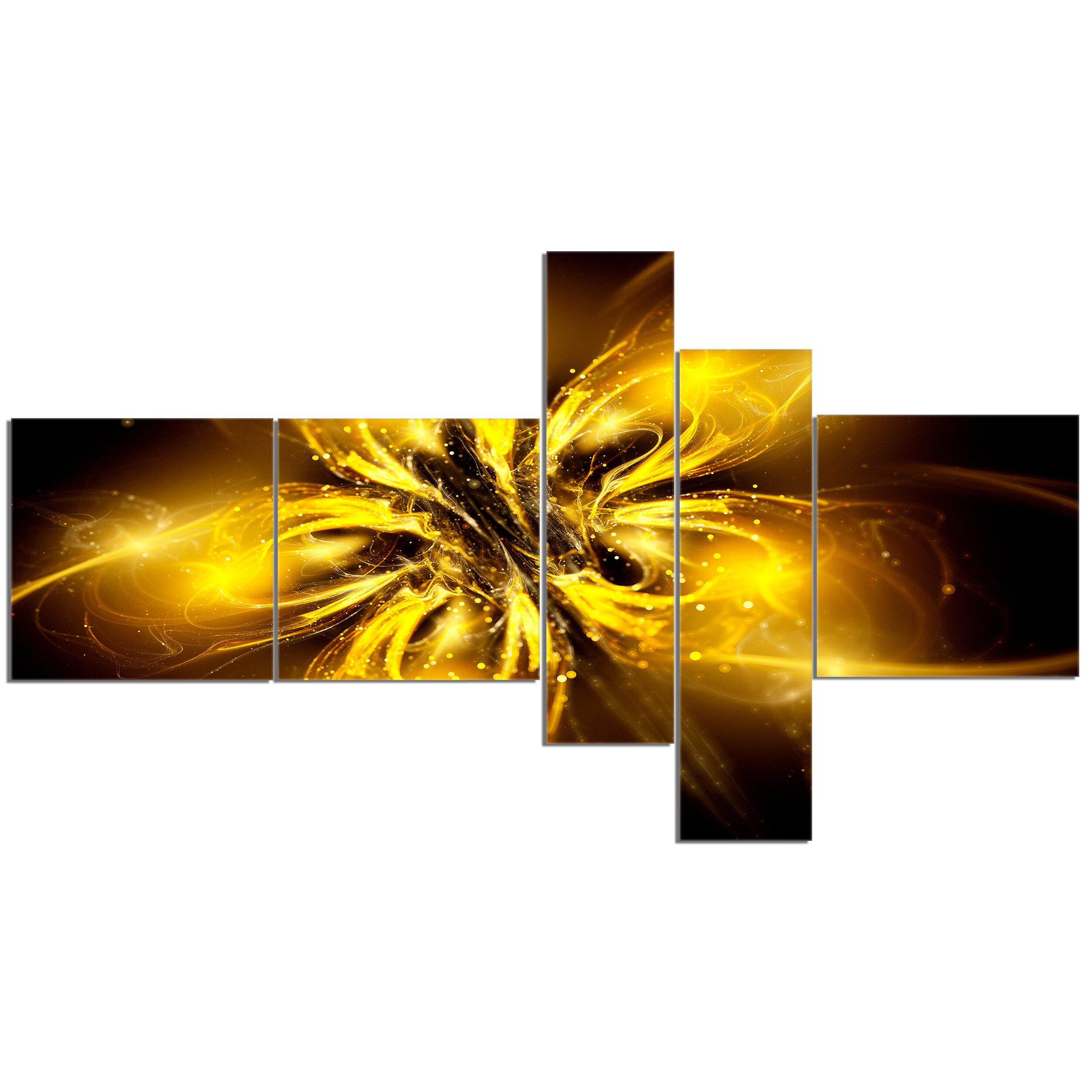 East Urban Home Shiny Gold Fractal Flower On Black Graphic Art Print Multi Piece Image On Canvas Wayfair