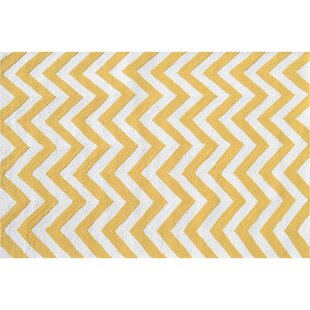 Hand-Woven Yellow/White Indoor/Outdoor Area Rug