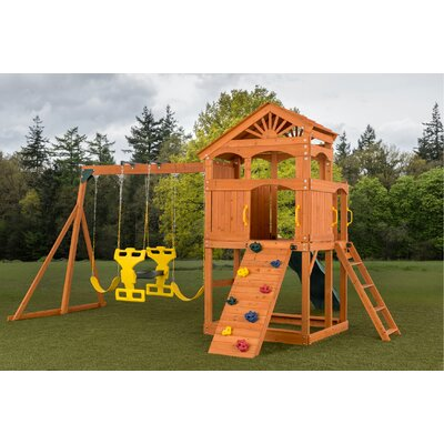 Timber Valley Swing Set Creative Cedar Designs Slide Color: Green, Accessories Color: Multi