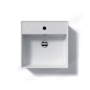 WS Bath Collections Ceramica Ceramic Square Vessel Bathroom Sink with Overflow