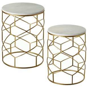 Boncelles Marble 2 Piece Nesting Table by Mercer41