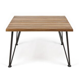 Hansell Outdoor Industrial Wooden Coffee Table