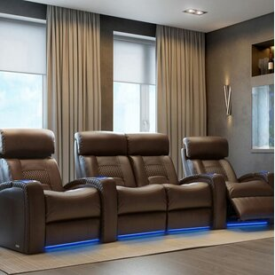 Diamond Stitch Home Theater Row Curved Seating with Chaise Footrest (Row of 4) by Latitude Run