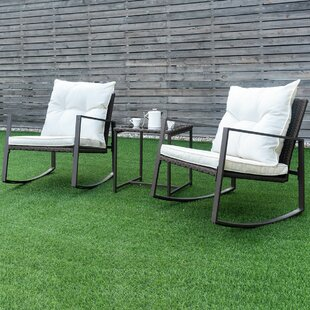 Ledyard 3 Piece Rattan 2 Person Seating Group with Cushions