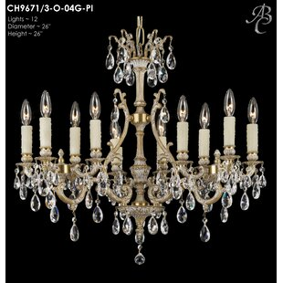 American Brass & Crystal Chateau 12-Light Candle Style Chandelier
