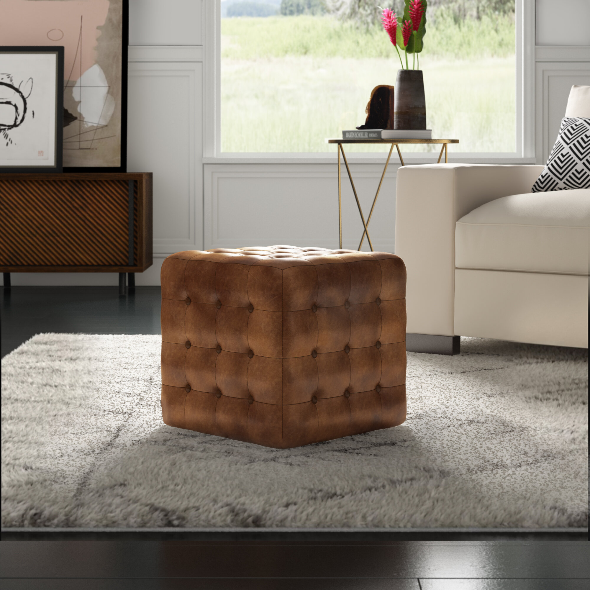 Elgin Leather Tufted Cube Ottoman