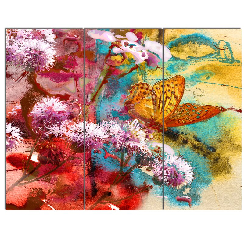 Designart Butterfly And Abstract Design Watercolor 3 Piece Graphic Art On Wrapped Canvas Set Wayfair