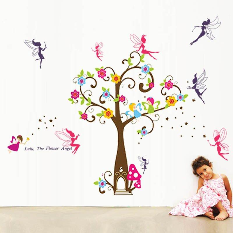 Wandtattoo Kinder, Engel, Baum und Feen