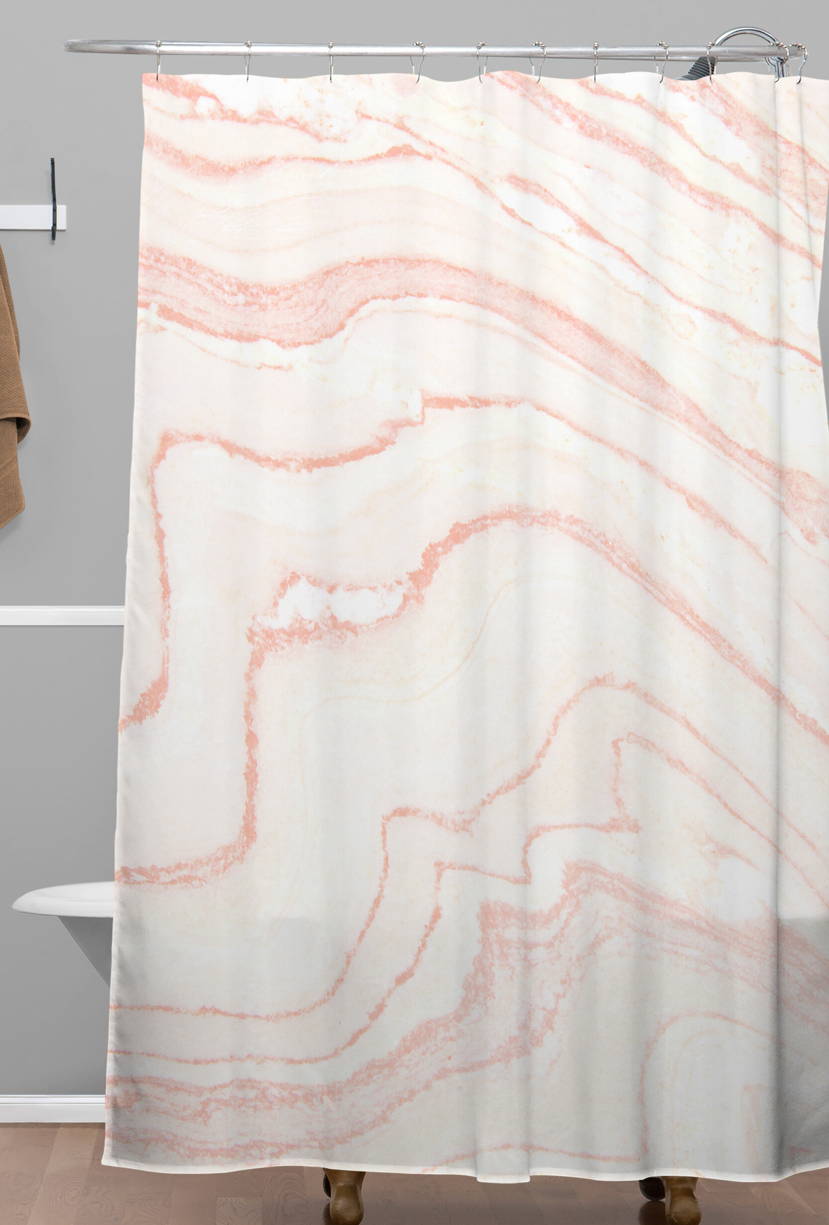 East Urban Home Blush Marble Shower Curtain