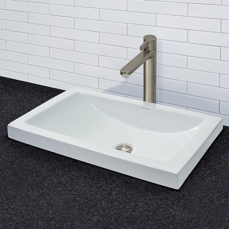 DECOLAV Breanna Vitreous China SemiRecessed Lavatory Rectangular - Bathroom drain