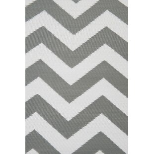 Psychedelia Gray/White Indoor/Outdoor Area Rug