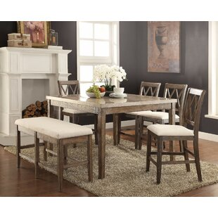 Gracie Oaks Chantalle Amicable Marble Top Counter Height Dining Table