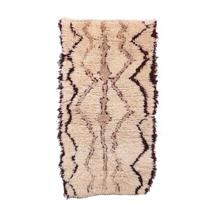 Azilal Vintage Moroccan Hand Knotted Wool Beige Brown Area Rug