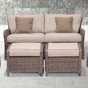 Avadi Outdoor Sofa & Ottomans 3 Piece Set