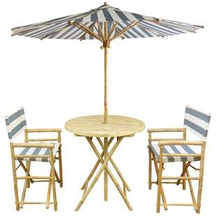 Bay Isle Home Sinta Bamboo 3 Piece Bistro Set with Umbrella