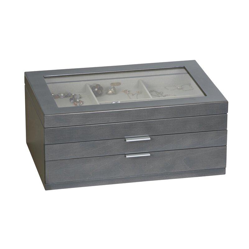 Misty Glass Top Wooden Jewelry Box