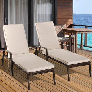 Vargas Patio Rattan Lounge Chair with Cushion (Set of 2)