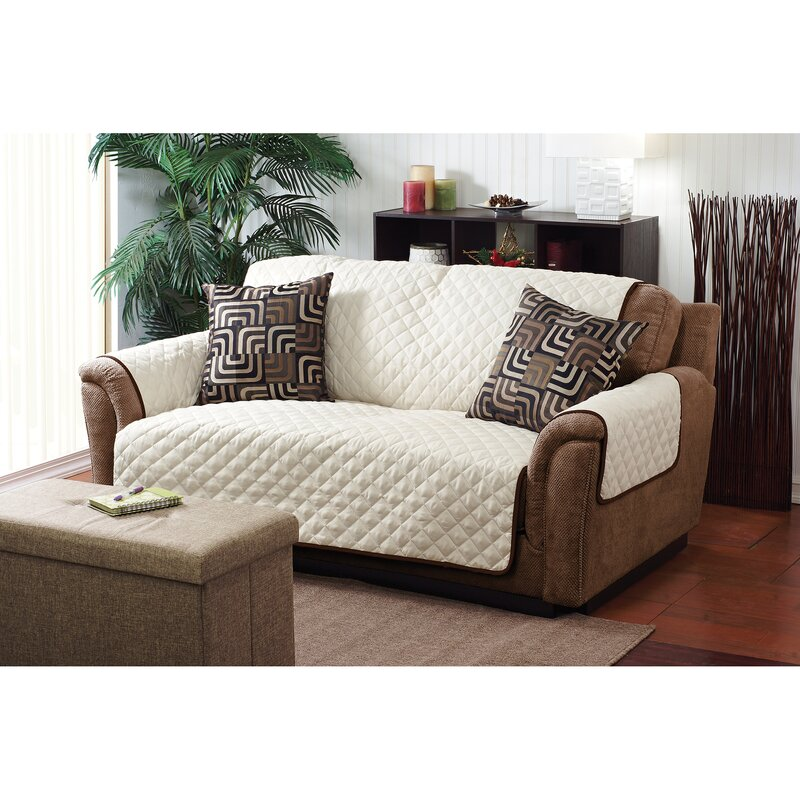 Double Sided Sofa simplify double sided box cushion loveseat slipcover & reviews
