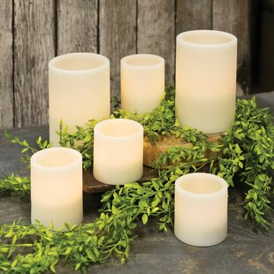 LED Flicker 6 Piece Pillar Candle Set