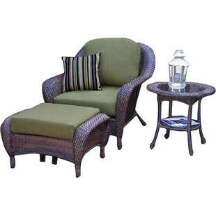 Fleischmann 3 Piece Arm Chair, Ottoman and Table Set with Cushions