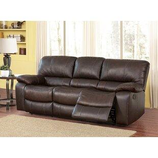 Husebye Leather Reclining Sofa Latitude Run