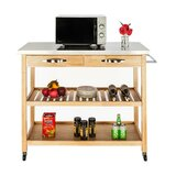 Siya Moveable Island Kitchen Cart with Stainless Steel Top by August Grove®