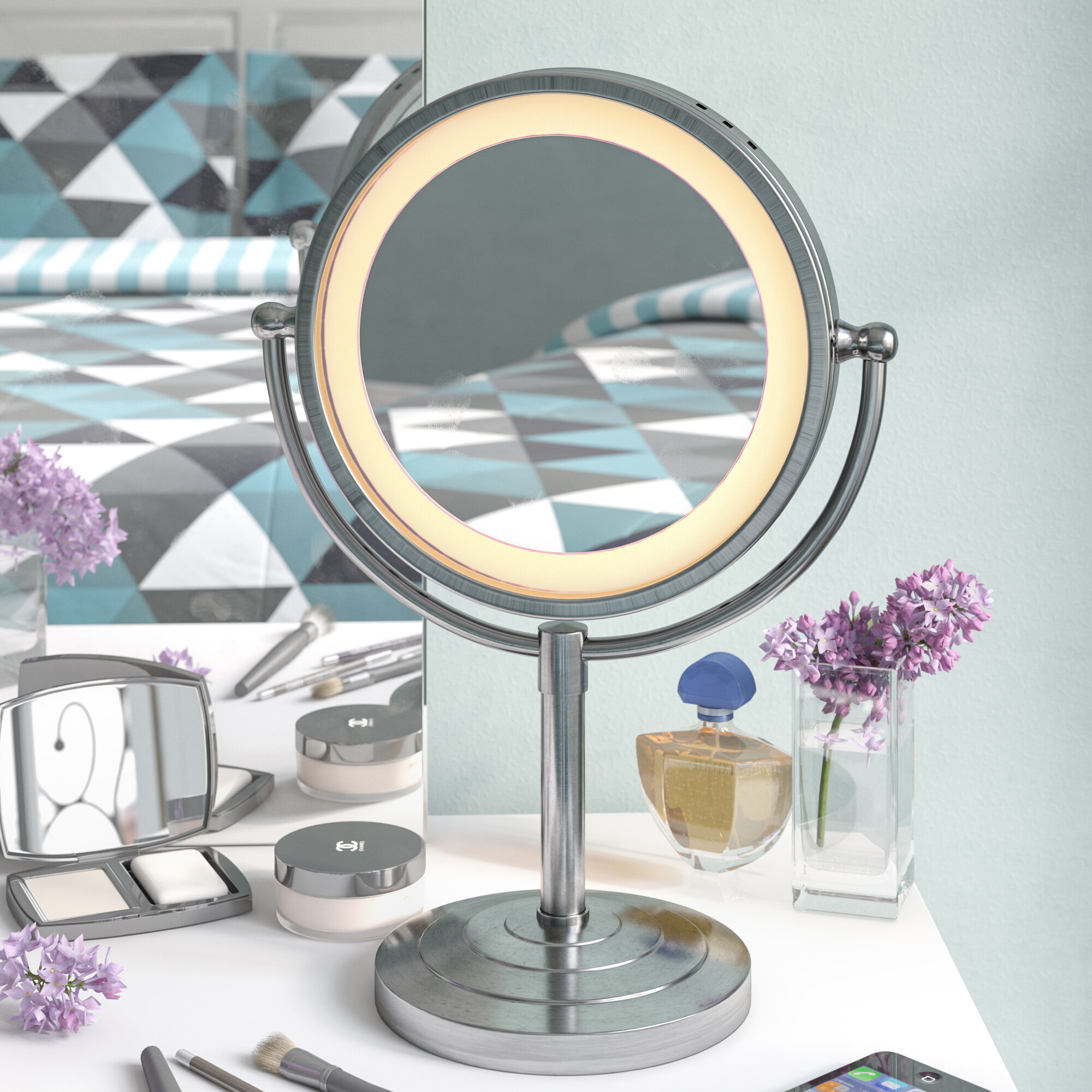 Symple Stuff Halo Lighted Tabletop Vanity Mirror U0026 Reviews | Wayfair