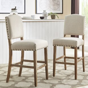 Pompon Premium Nailhead 25 Bar Stool (Set of 2) Lark Manor