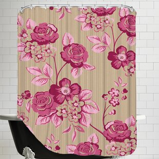 Pink Floral Single Shower Curtain