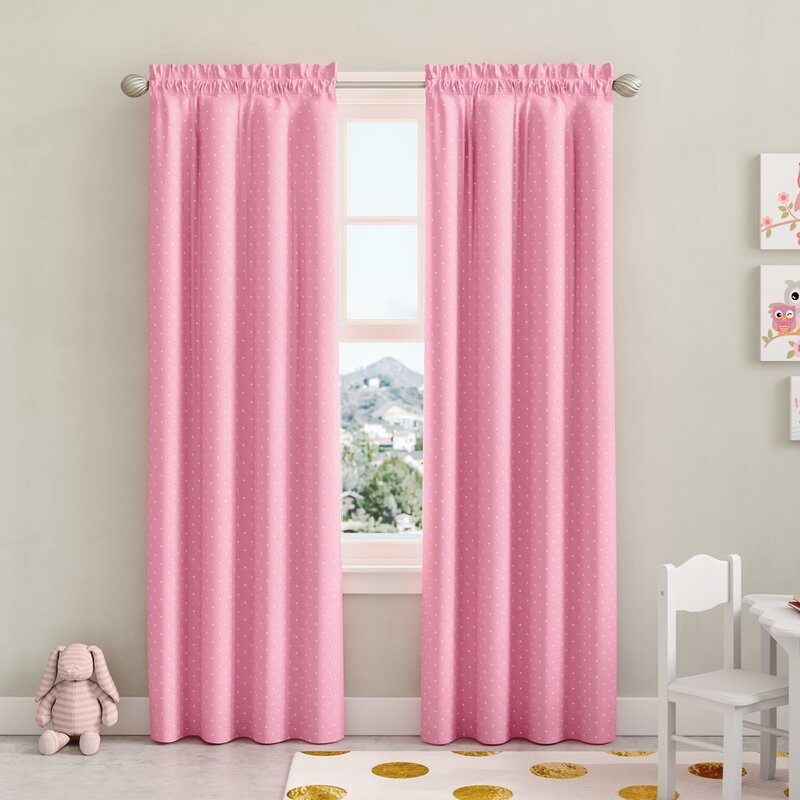 Zoomie Kids Zackery Polka Dots Room Darkening Thermal Rod Pocket Single Curtain Panel Reviews Wayfair