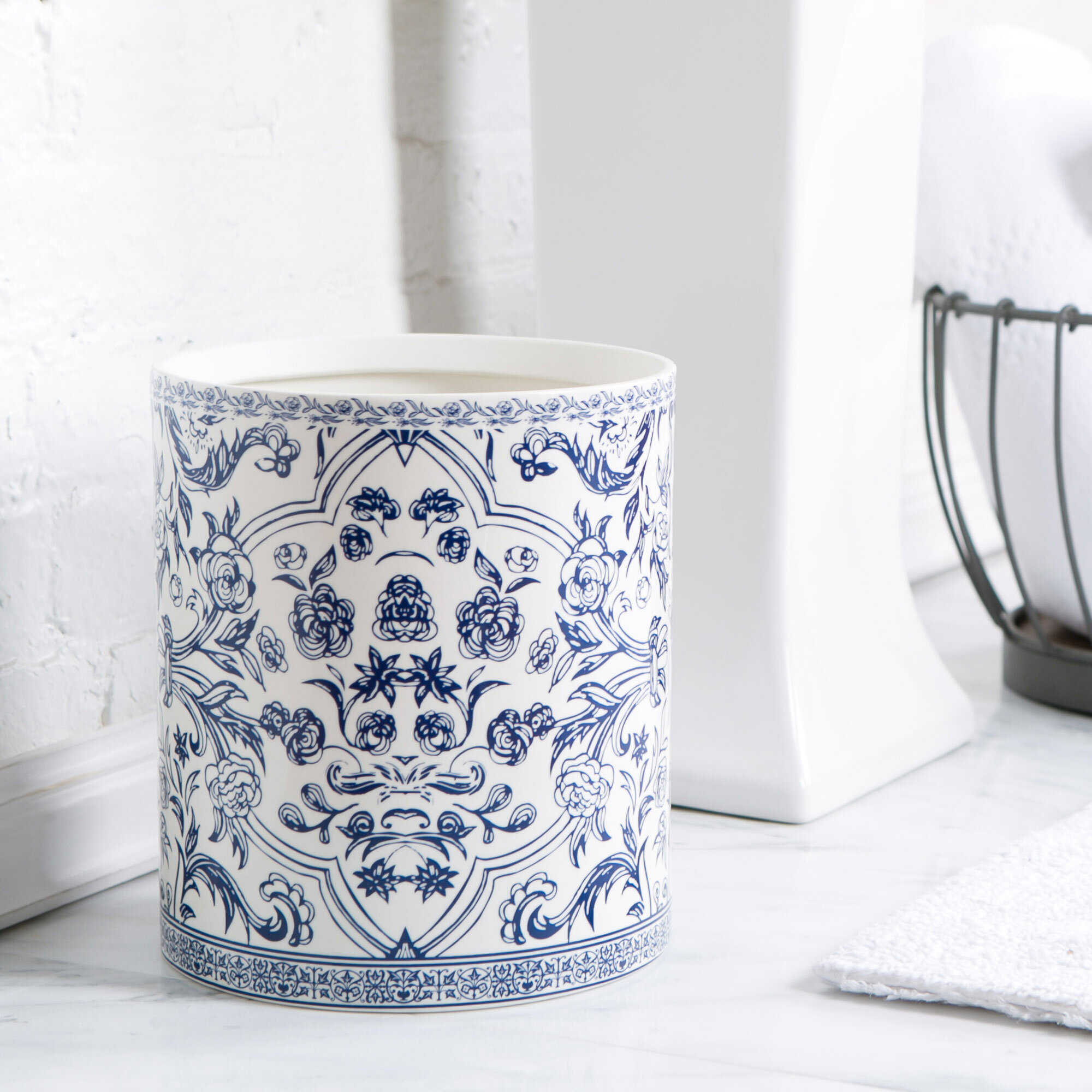 Birch Lane Porcelain Bathroom Accessories Blue White Waste Basket Reviews