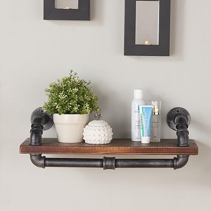 Duran Industrial Walnut Wood Floating Shelf Amp Reviews