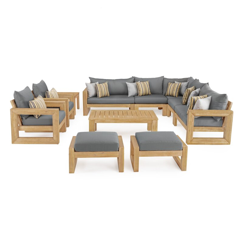Rosecliff Heights  Mcclain 11 Piece Sunbrella Sectional Seating Group with Cushions Cushion Color: Charcoal Grqy