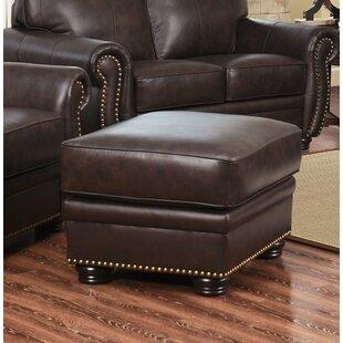 World Menagerie Hotchkiss Leather Ottoman