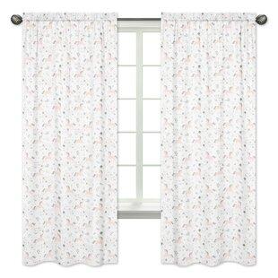 Unicorn Semi-Sheer Rod Pocket Curtain Panels (Set of 2) by Sweet Jojo Designs