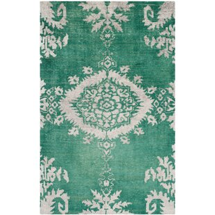 Read Reviews Collette Griggs Hand-Knotted Emerald Area Rug By Bungalow Rose
