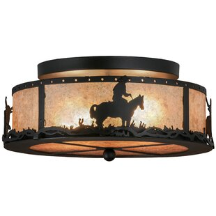 Meyda Tiffany Cowboy and Steer 2-Light Semi Flush Mount