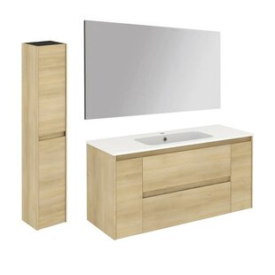 Compare prices Ambra 47 Single Bathroom Vanity Set with Column and Mirror By WS Bath Collections