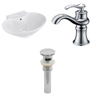 Ceramic 17 Wall Mount Bathroom Sink with Faucet and Overflow ByAmerican Imaginations