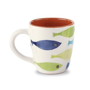 Glazed Terracotta Diagonal Swimming Fish Coffee Mug (Set Of 2)