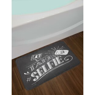 Social Media Theme Take Selfie Phrase on Blackboard Inspired Background Bath Rug
