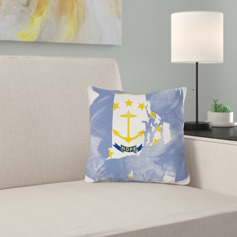 East Urban Home Rhode Island Flag Pillow In Poly Twill Double Sided Print Pillow Cover Wayfair