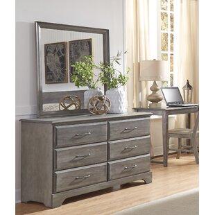 Grovelane Teen Ciara 6 Drawer Double Dresser with Mirror