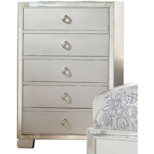 Bova Wooden 5 Drawer Chest with Mirror